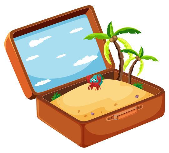 Areia no conceito de mala