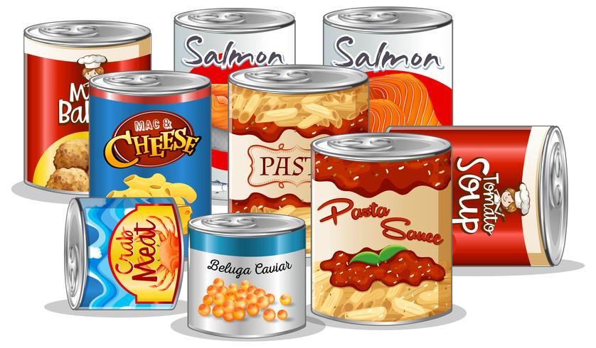 Set of canned food - Download Free Vectors, Clipart ...