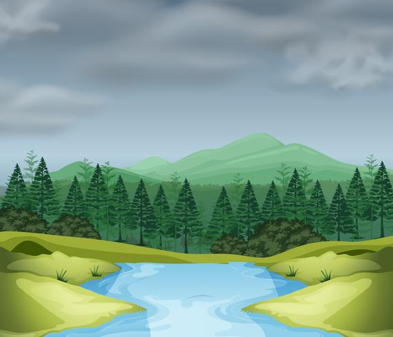 Bergscen med flod