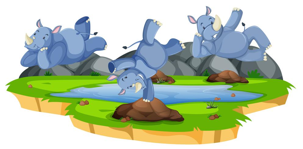 Happy rhinoceros character in nature