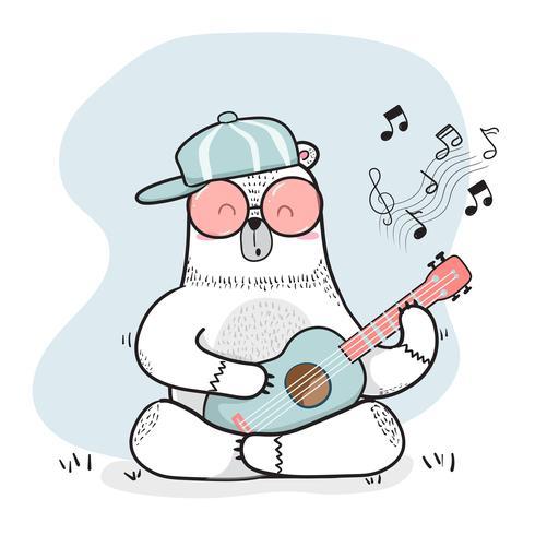 cute doodle white bear plays guitar