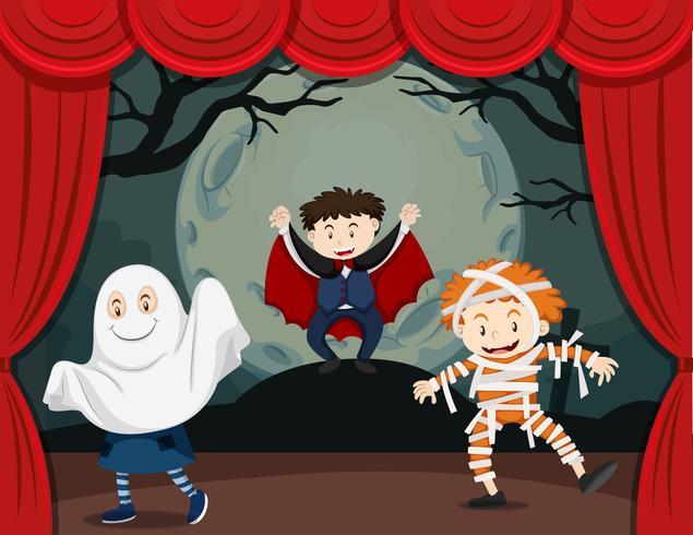 Kids in horror show vector