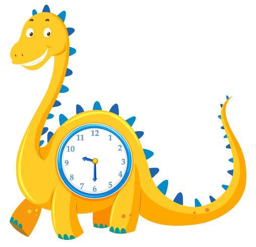 Eine Dinosaurieruhr auf weißem Hintergrund