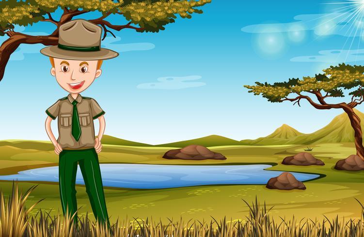 park ranger in african scene