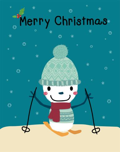 hombre de nieve jugando esquí feliz navidad tarjeta vector