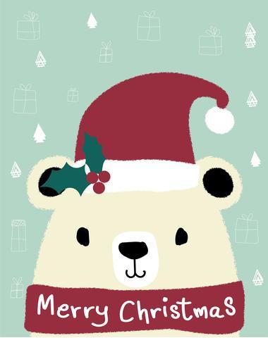 vit nallebjörn bär röd julkattshatt, glatt julkort