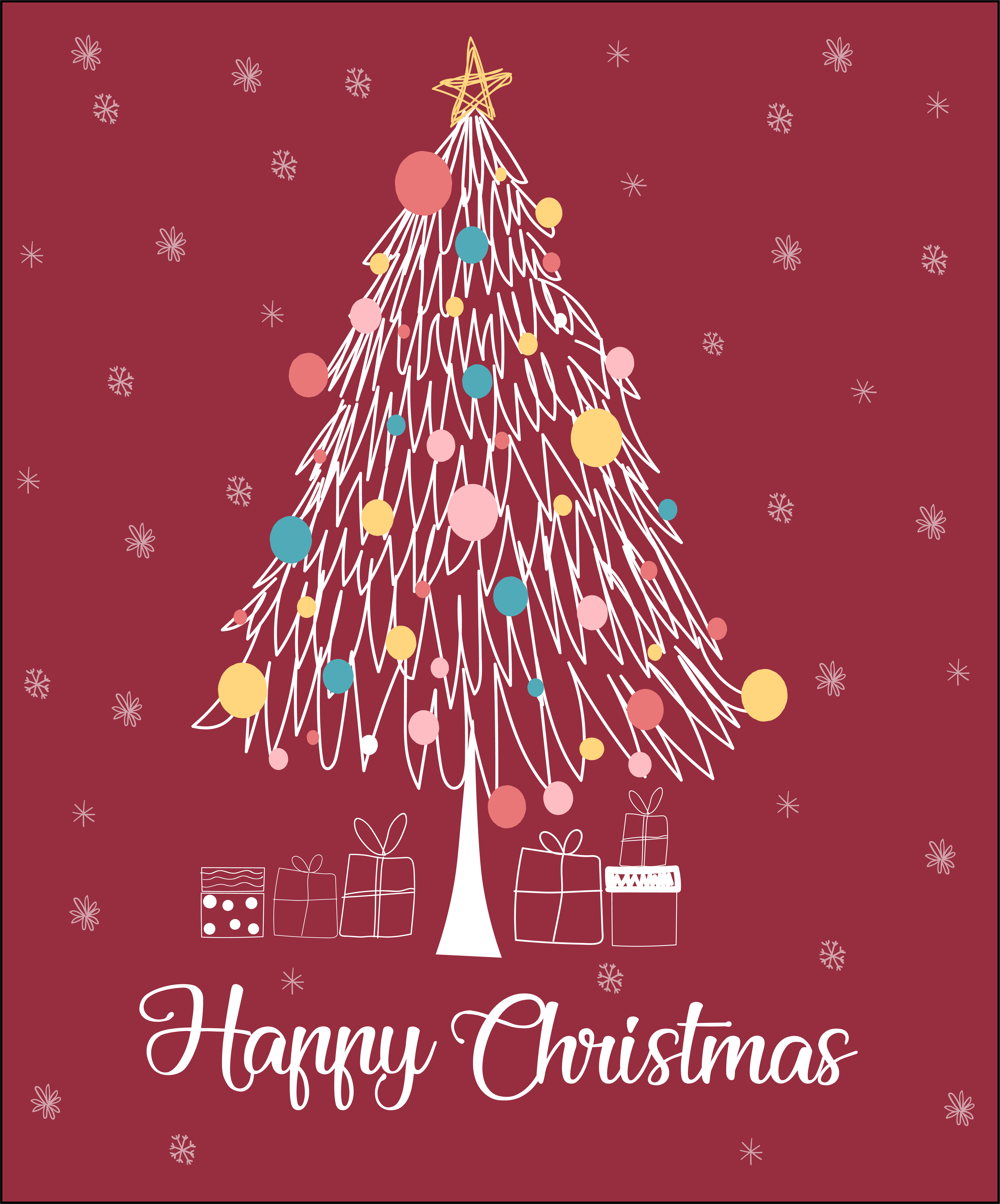 christmas tree line happy christmas card download free. Black Bedroom Furniture Sets. Home Design Ideas