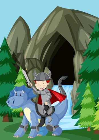 A prince riding dragon in nature