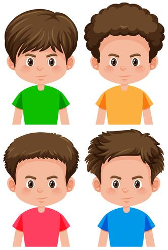 Set av pojke olika frisyr