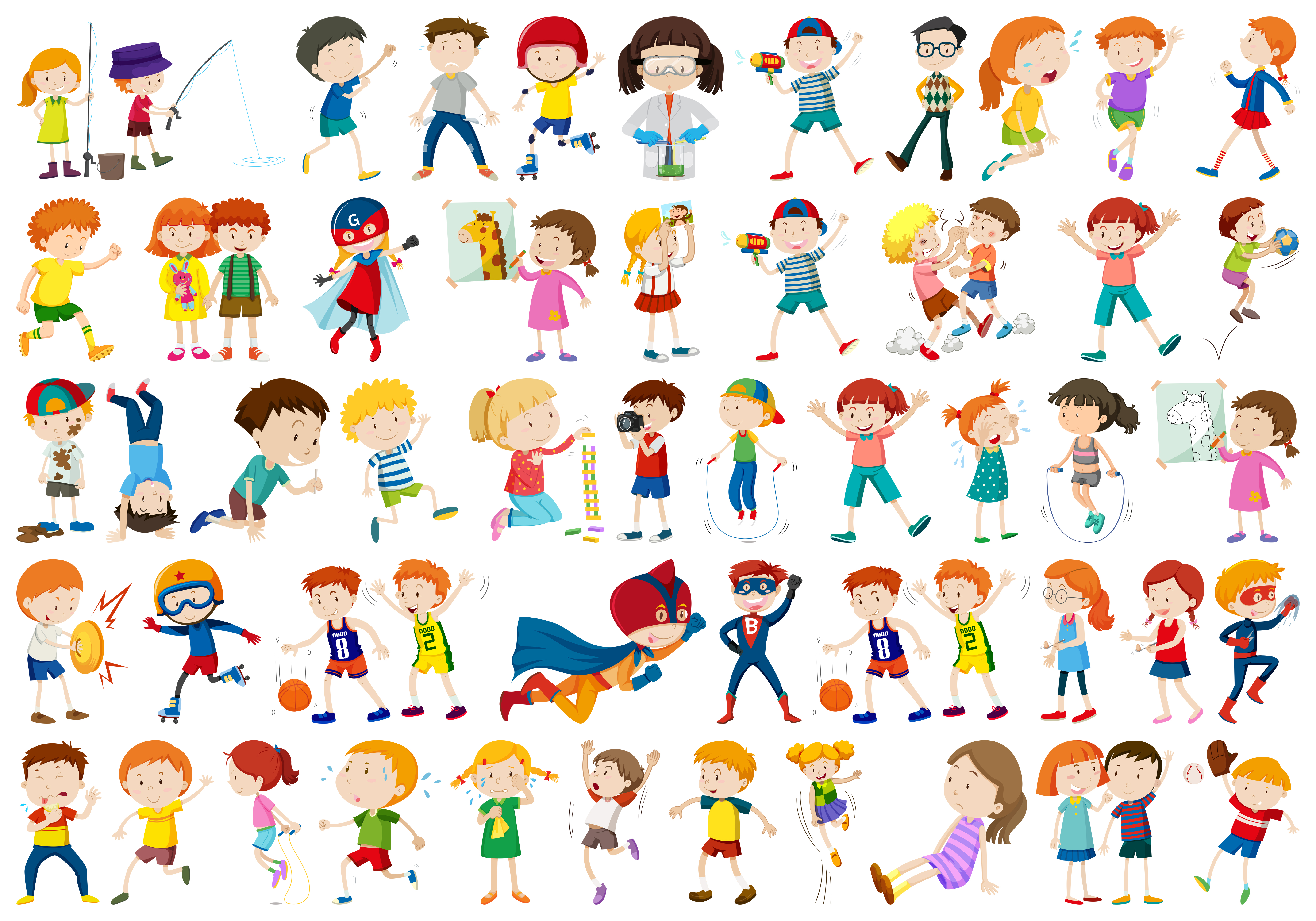 Set of children character - Download Free Vectors, Clipart ...