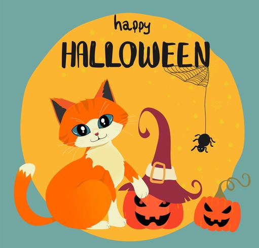 Feliz tarjeta de Halloween con gato naranja dibujado mano y calabazas contra la luna llena