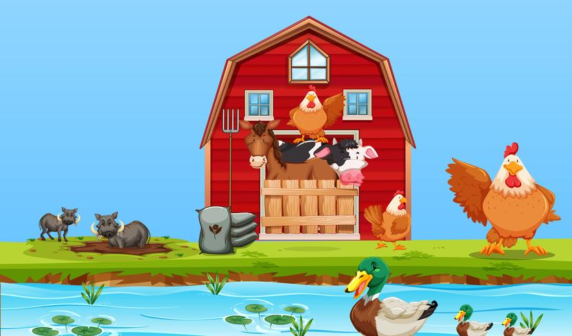 Happy boerderij dieren scène