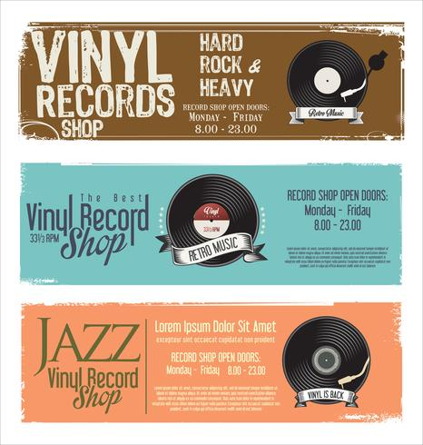 Vinyl record shop retro grunge banner vector