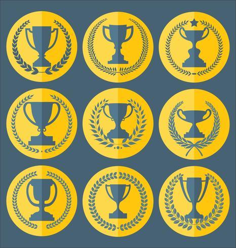 Trofé och utmärkelser märken och etikettsamling vektor