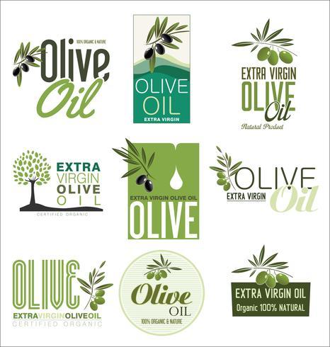 Colección retro del fondo del vintage del aceite de oliva
