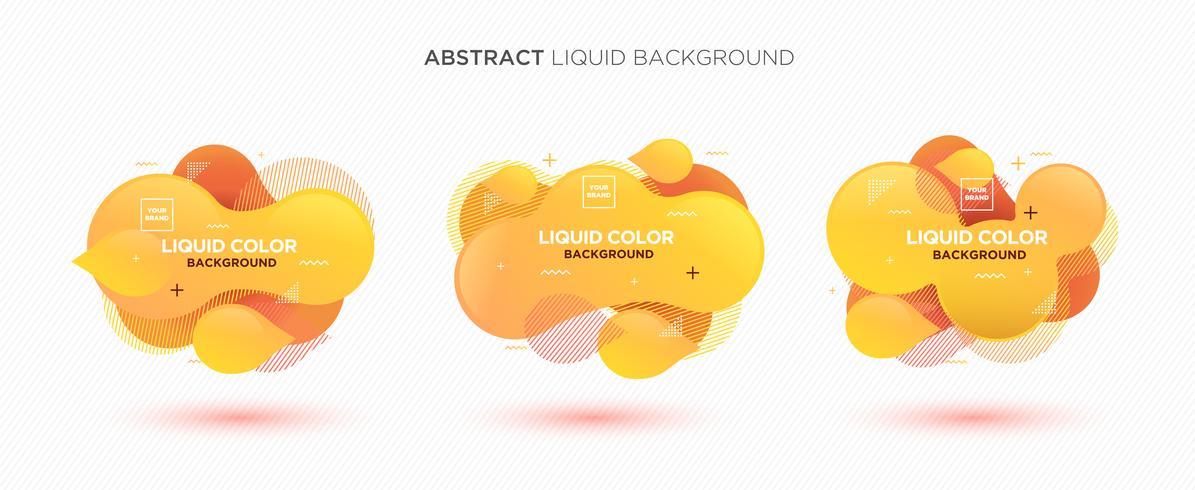 Moderne abstracte vloeibare vector banner set. Vlakke geometrische vloeibare vorm met gradiëntkleuren & het element van het memphisontwerp. Moderne vector sjabloon, sjabloon voor het ontwerp van een logo, flyer of presentatie.