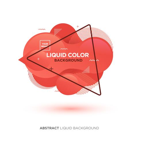 Abstrakt flytande levande korallfärgbanner med triangelram och märkeplacering Logo