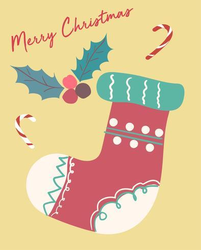 cartolina di Natale carino fastive vintage calzino piatto vettoriale