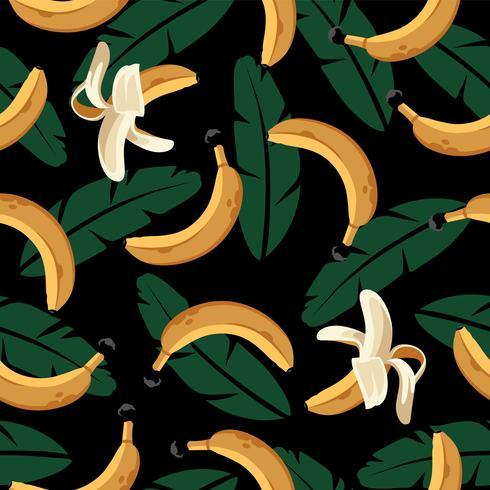 Padrão sem emenda de banana com folhas