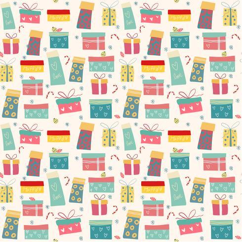 doodle färgglada presentförpackningar mönster sömlös