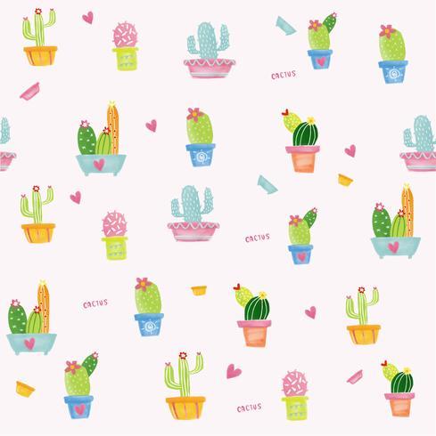 patrón de acuarela de cactus pastel inconsútil vector