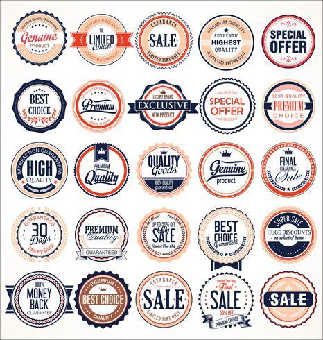 Retro Vintage Abzeichen und Etiketten-Sammlung