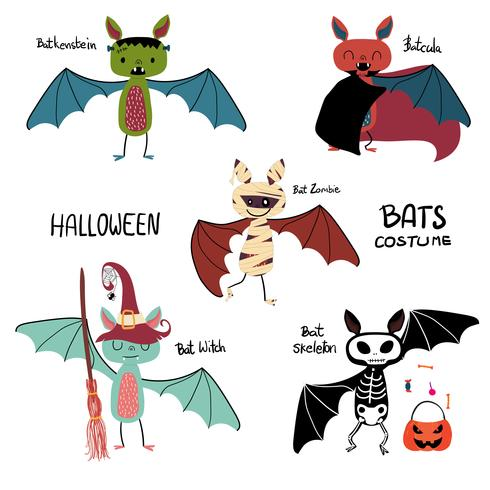cartoon bat Halloween costume collection vector