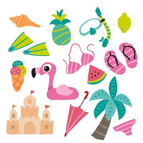 diseño de la colección de vectores de playa