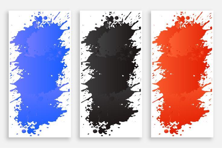 conjunto de bandeiras de respingo de cor tinta abstrata
