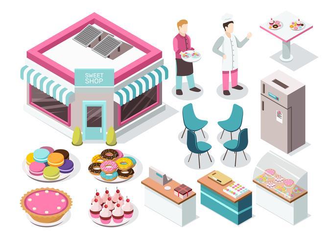 Conjunto isométrico de loja de doces