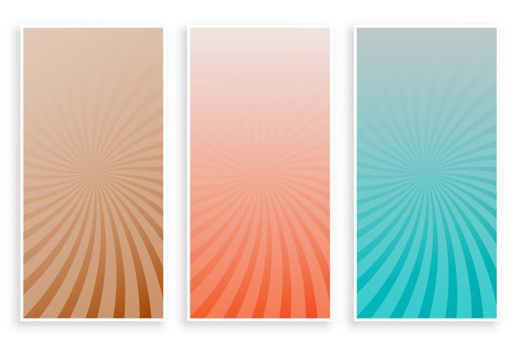 abstrakta färger strålar sunburst banners set