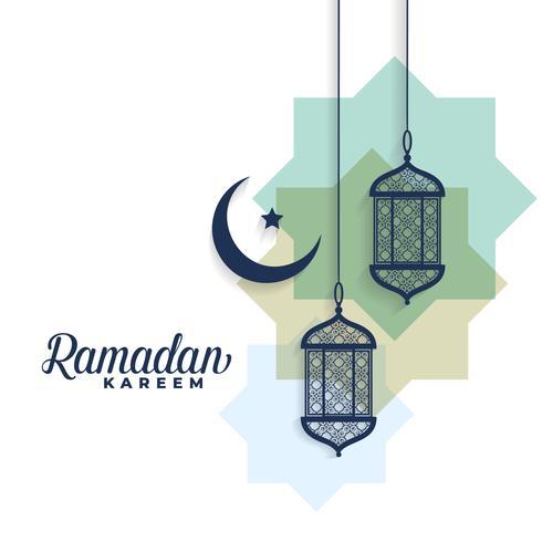 ramadan kareem månen och arabiska lampor bakgrund
