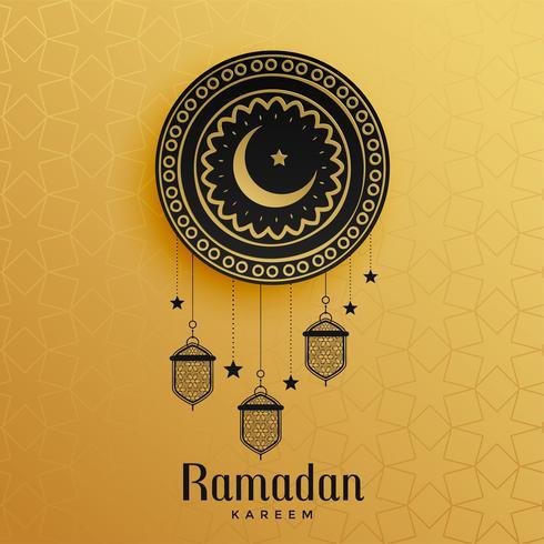 islamisk stil gyllene ramadan kareem hälsning design