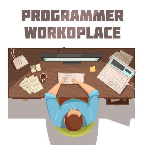 Concetto del fumetto del posto di lavoro del programmatore