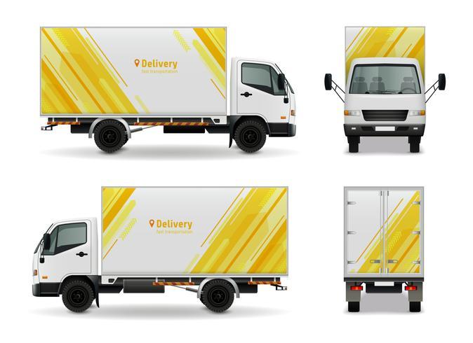 Realistische vracht voertuig reclame Mockup Design