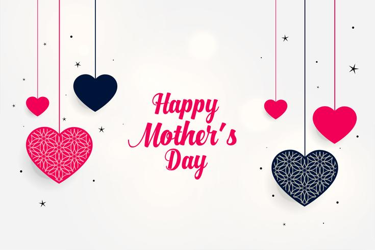 Precioso Saludo Del Día De La Madre Con Corazones Colgantes
