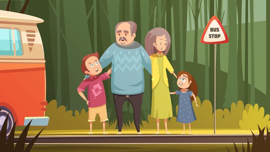 Composition de dessin animé de grands-parents et petits-enfants vecteur