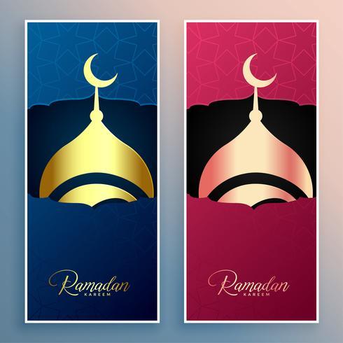 ensemble de bannière de conception mosquée ramadan kareem