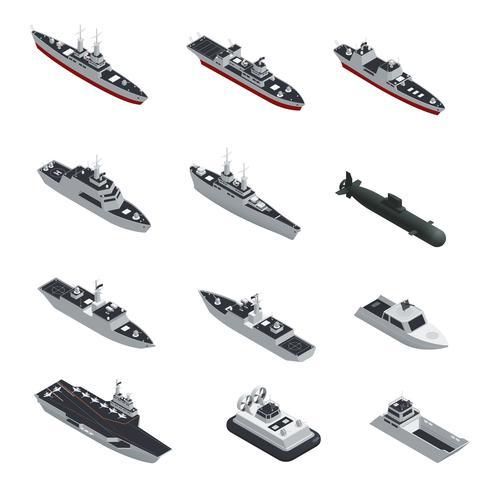 Conjunto de ícones isométrica de barcos militares