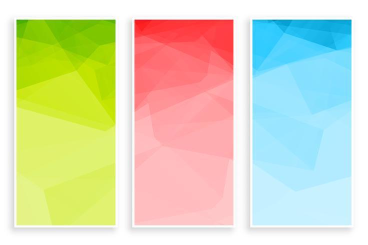abstrakta låga poly triangeln färger banners set