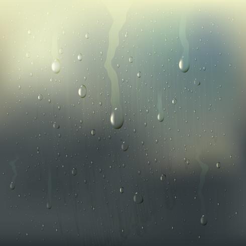 Misted Wet Glass Drops Composition réaliste vecteur