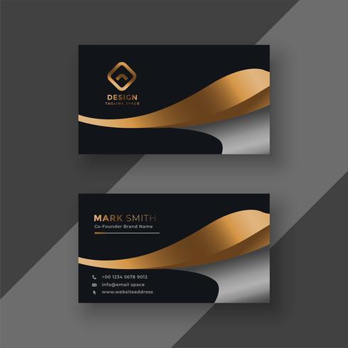 plantilla de tarjeta de visita premium oro de lujo