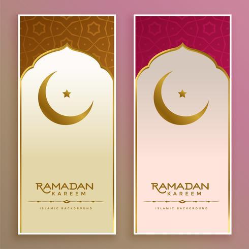 ramadan kareem eller eid banner med måne och stjärna