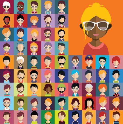 Coleção de avatar de vários personagens masculinos e femininos