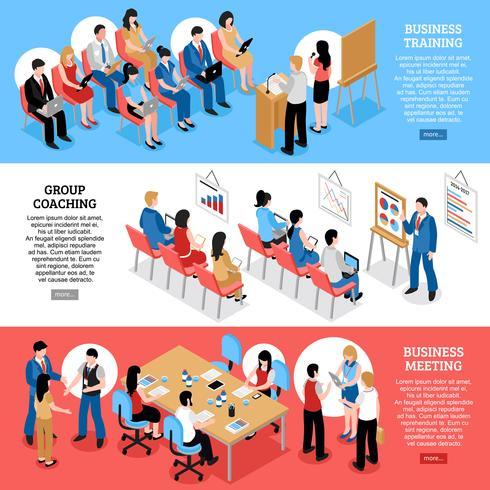 Business Meeting Isometric Horizontal Banners
