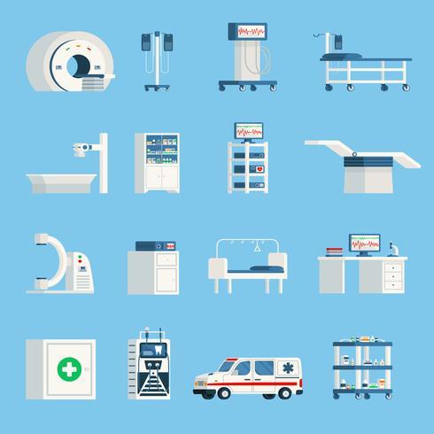 Sjukhusutrustning Ortogonala platt ikoner