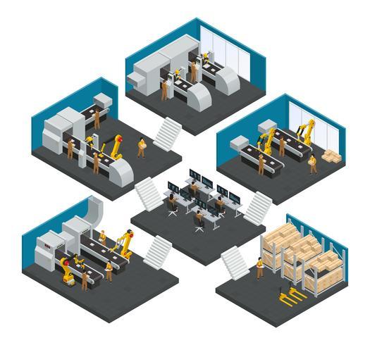 Elektronikfabrik Isometrisk Multistory Sammansättning