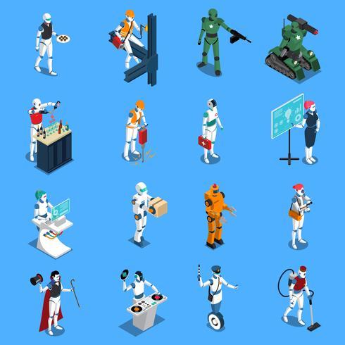 Conjunto isométrico de profissões de robô