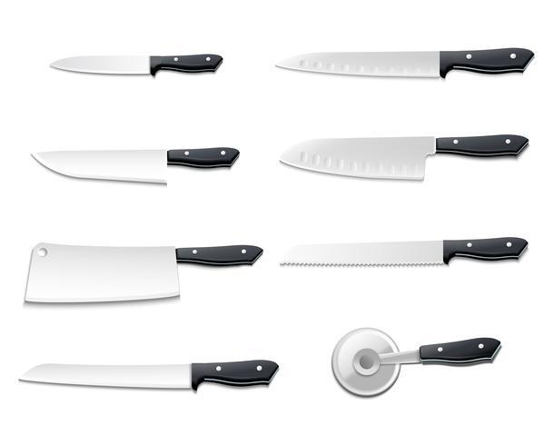 Conjunto de ícones de facas realista