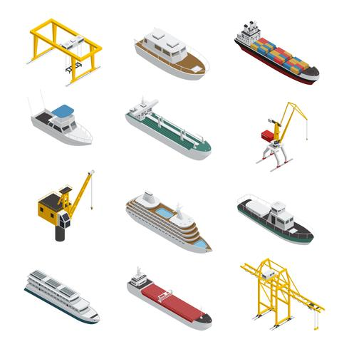 Sea And River Vessel Isometric Icons Set